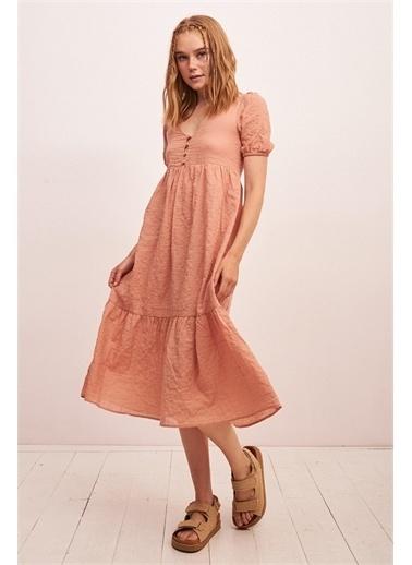 Never More Önü Düğmeli Kısa Kol Elbise Somon